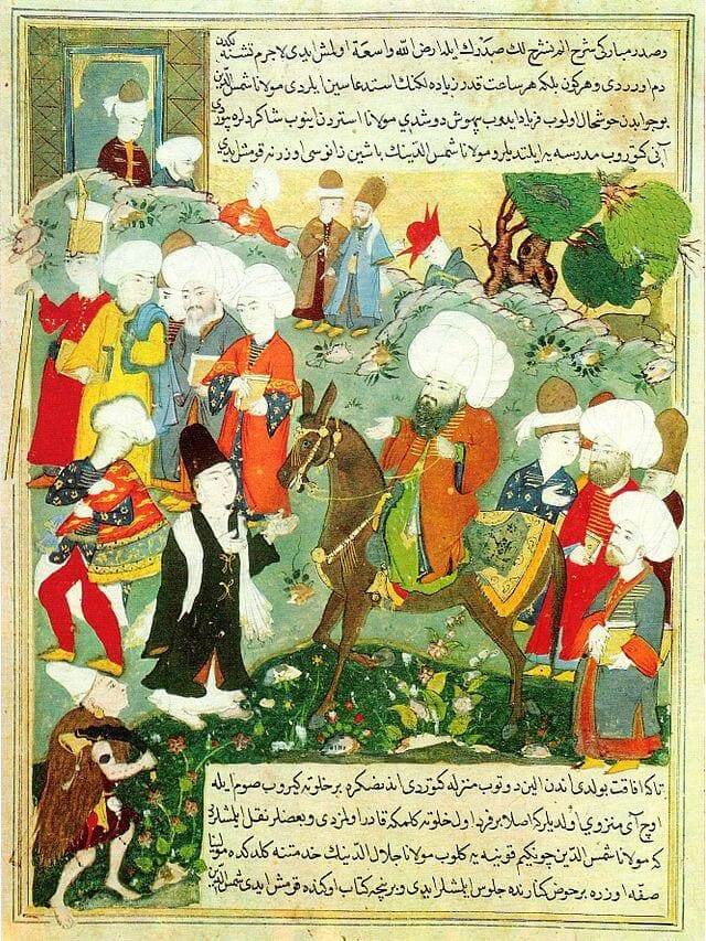 Kéziratoldal, amelyen Rumi tanítójával, Shams Tabrizivel találkozik (késő 16. – kora 17. század)
