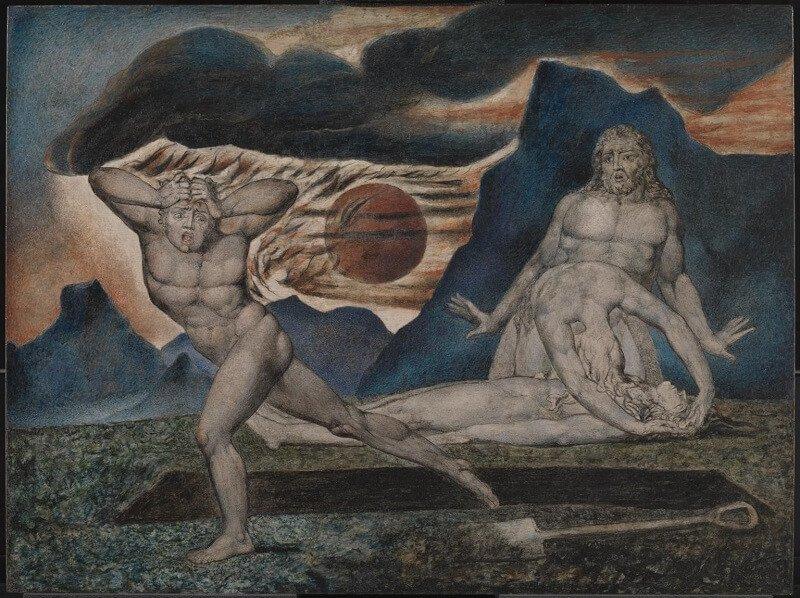 William Blake: Ádám és Éva megtalálja Ábel testét, take.org.uk