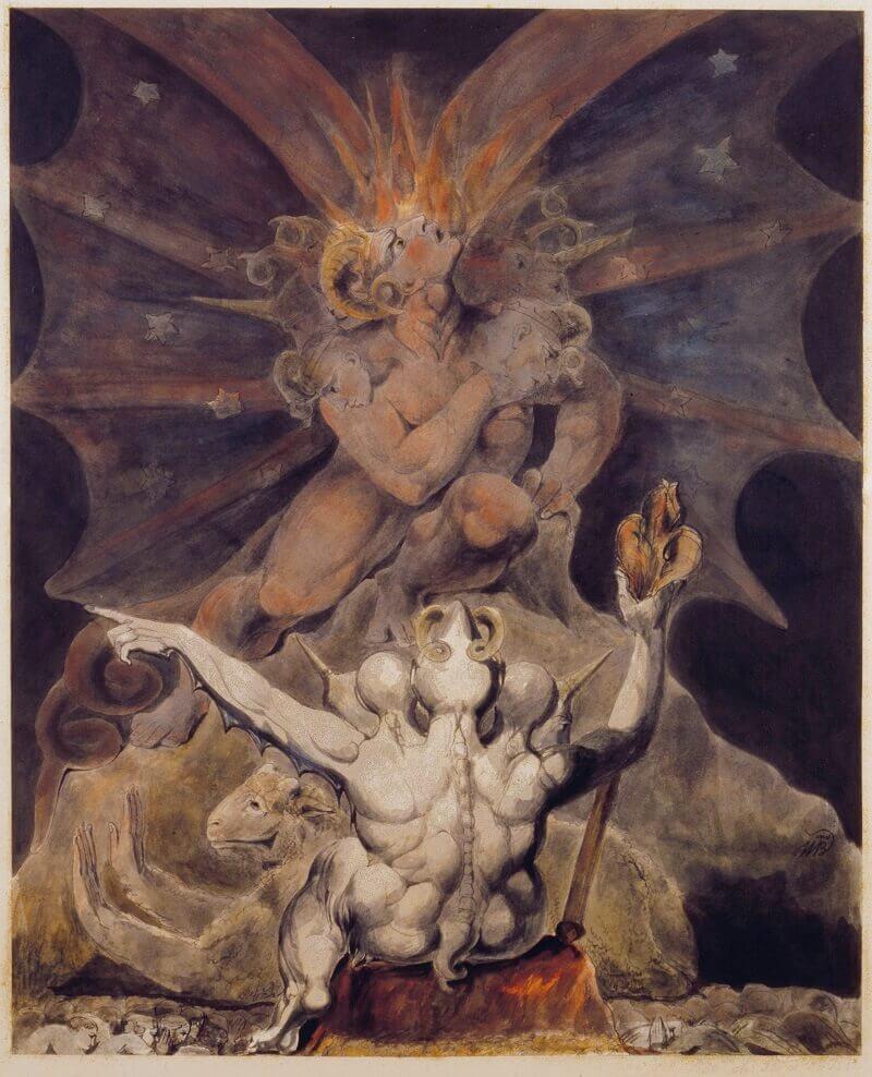 William Blake: A fenevad száma 666, commons.wikimedia.org