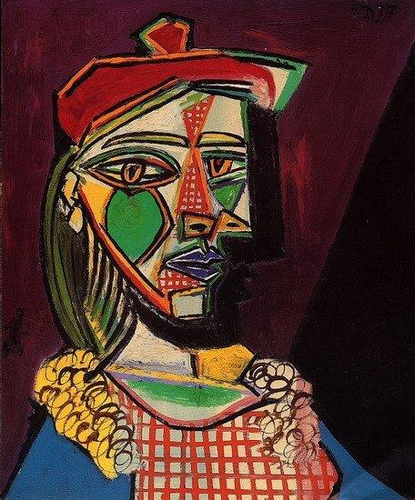 Pablo Picasso: Nő svájcisapkában és kockás ruhában (Marie-Therese Walter), pablo-ruiz-picasso.net