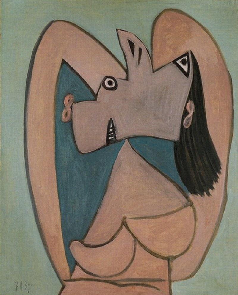 Pablo Picasso: Feje mögött összekulcsolt karú nő, pablo-ruiz-picasso.net