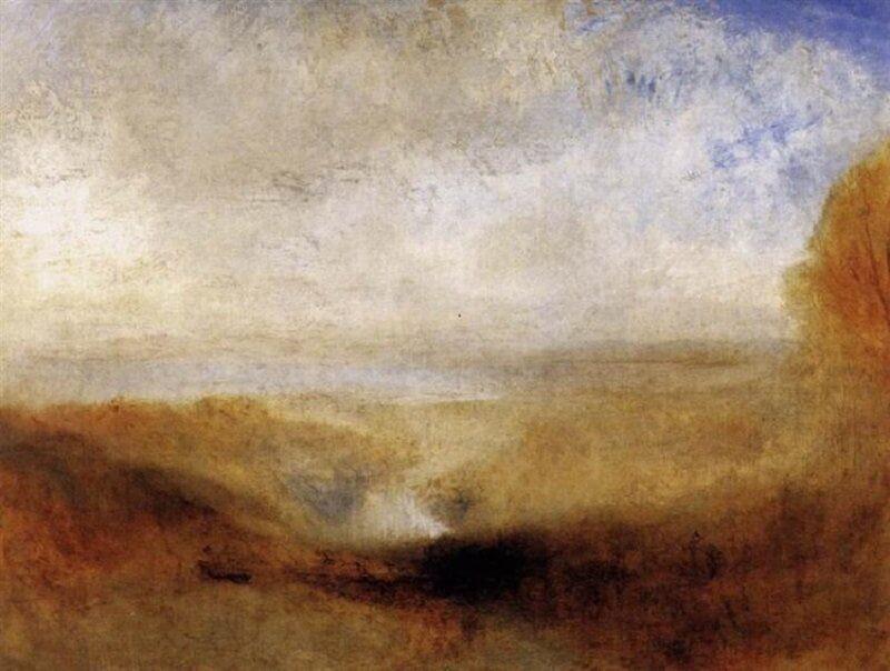 William Turner: Tájkép folyóval és a háttérben öböllel, wikiart.org