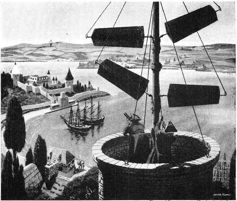 Illusztráció a 18. századból Napóleon szemafor-hálózatának működéséről, wikipedia.org