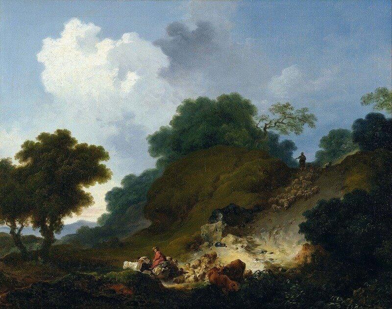 Jean-Honoré Fragonard: Tájkép juhásszal és juhokkal, wikipedia.com
