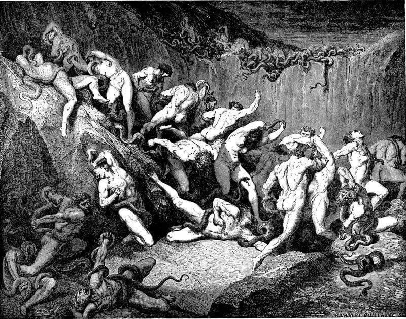 Gustave Doré illusztrációja Dante Poklához. Huszonnegyedik ének: A kígyók kínozzák a tolvajokat, wikimedia.org