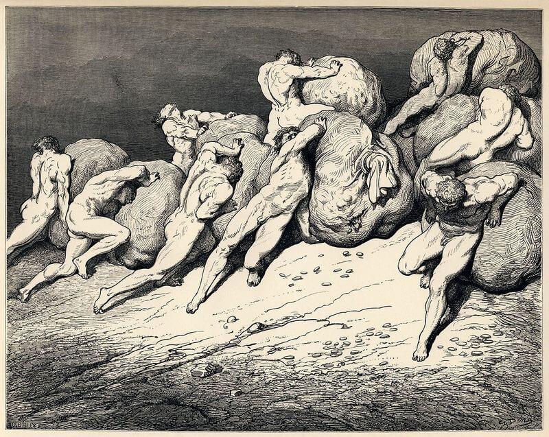 Gustave Doré illusztrációja Dante Poklához. Hetedik ének: Tékozlók és kuporgatók, wikimedia.org