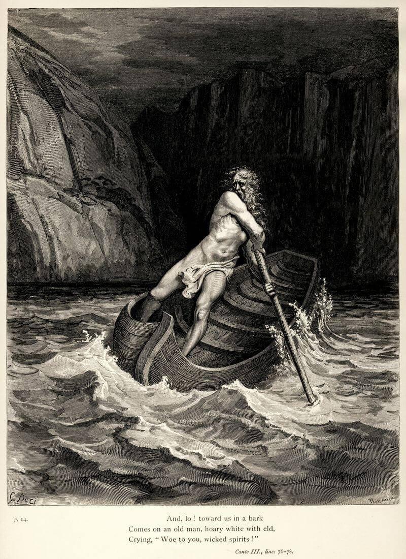 Gustave Doré illusztrációja Dante Poklához. Harmadik ének: Cháron érkezése, wikimedia.org