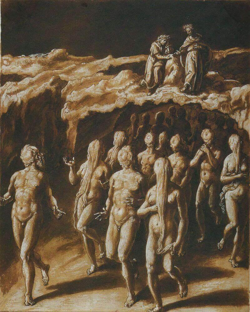 Giovanni Stradano illusztrációja Dante Poklához. Huszadik ének: Jósok és varázslók bűnhődése a Negyedik bugyorban, wikimedia.org