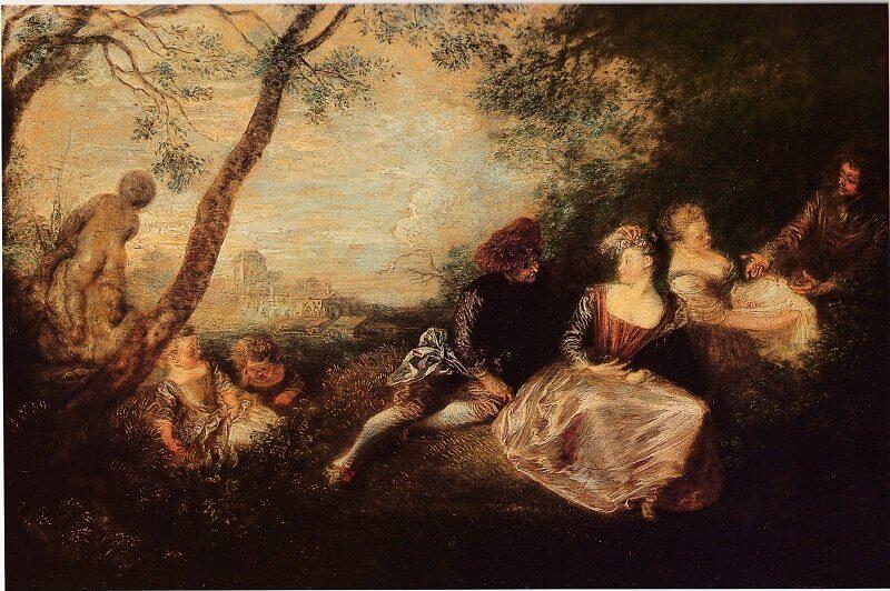 Jean-Antoine Watteau: Falusi szórakozás, watteau-abecedario.org