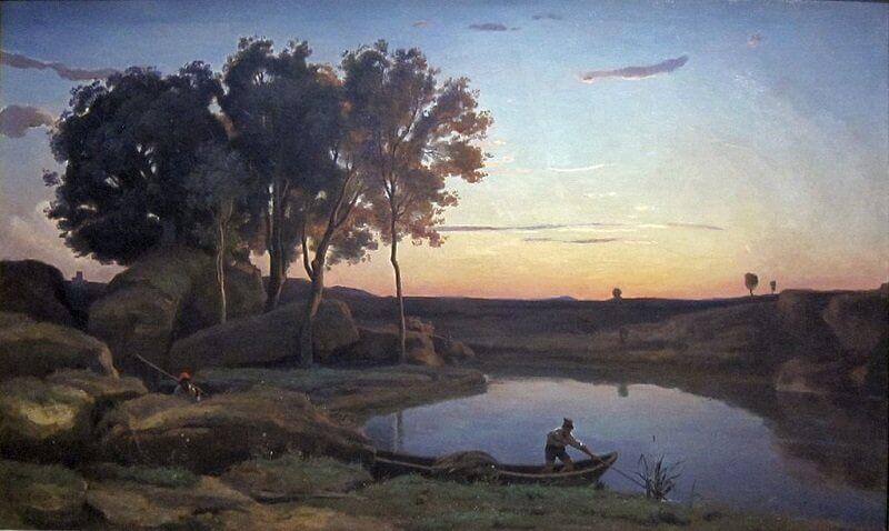 Jean-Baptiste-Camille Corot: Tájkép tavi révésszel, commons.wikimedia.org