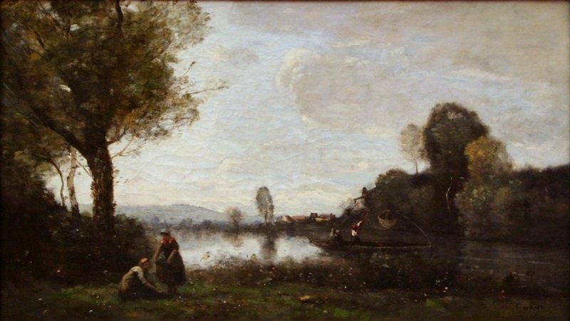 Jean-Baptiste-Camille Corot: Szajna parti táj Chatou környékén, commons.wikimedia.org