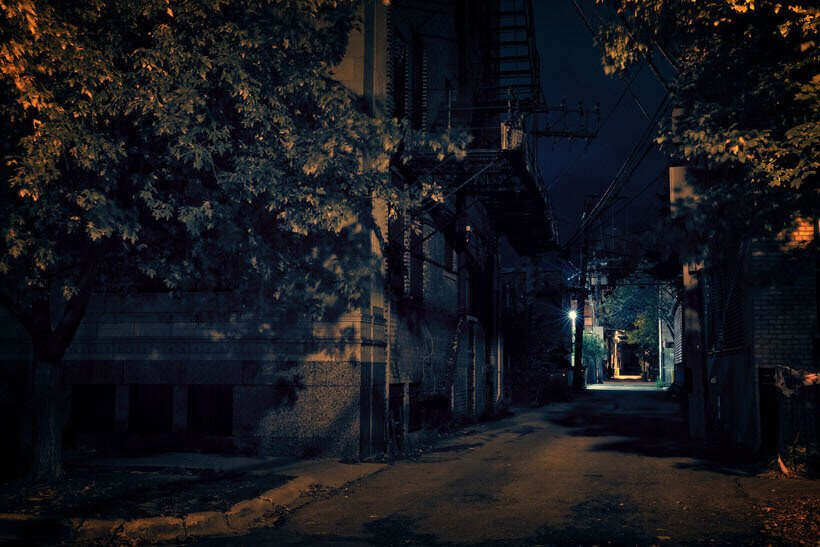 Dark City Alley at Night