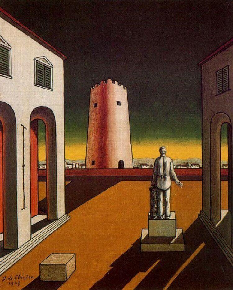 Giorgio De Chirico: Olasz piazza vörös toronnyal