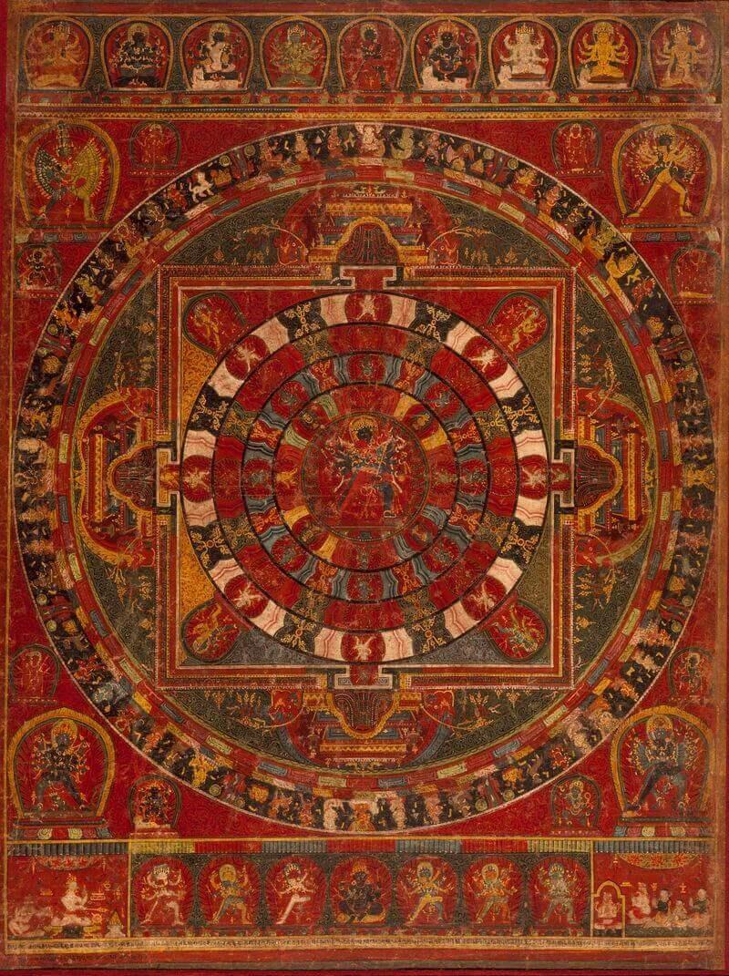 1.A buddhista istenség, Csakraszamvara mandalája, Nepál, 1490, commons.wikimedia.org