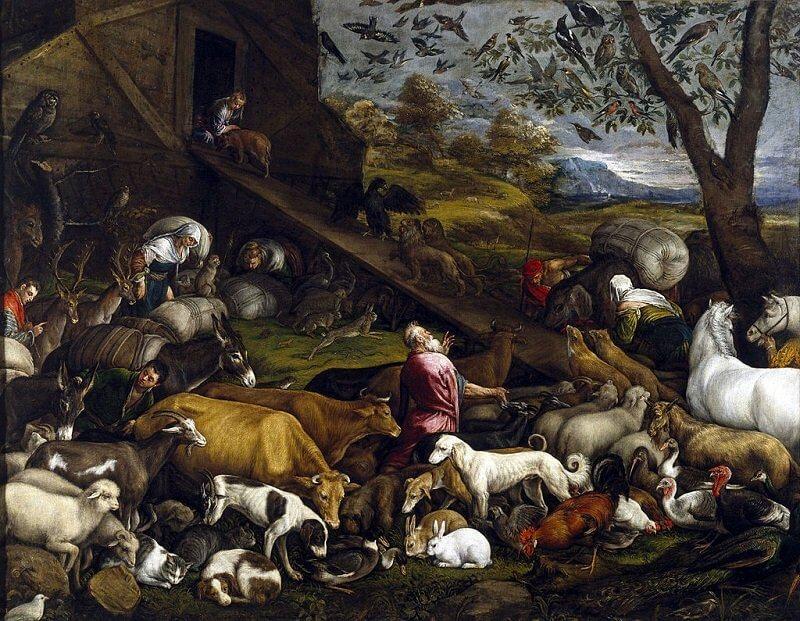 Jacopo Bassano: Az állatok bemennek Noé bárkájába