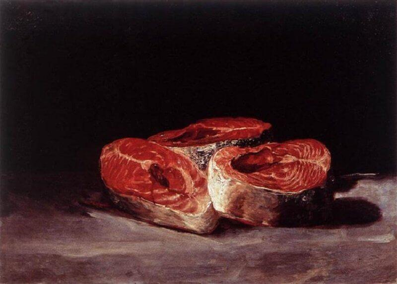 Francisco De Goya: Csendélet három lazac szelettel, wikiart.org