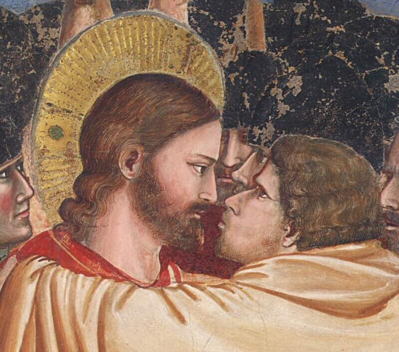 Giotto: Krisztus letartóztatása (Júdás csókja) - részlet