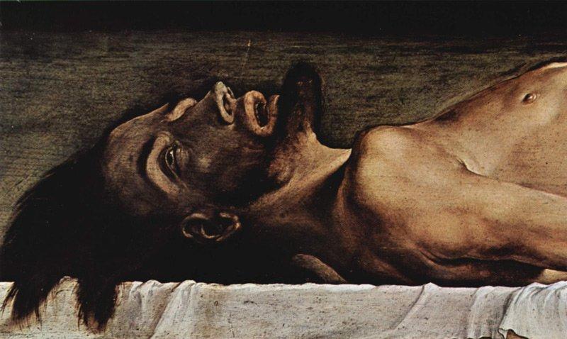 Hans Holbein: Halott Krisztus (részlet)