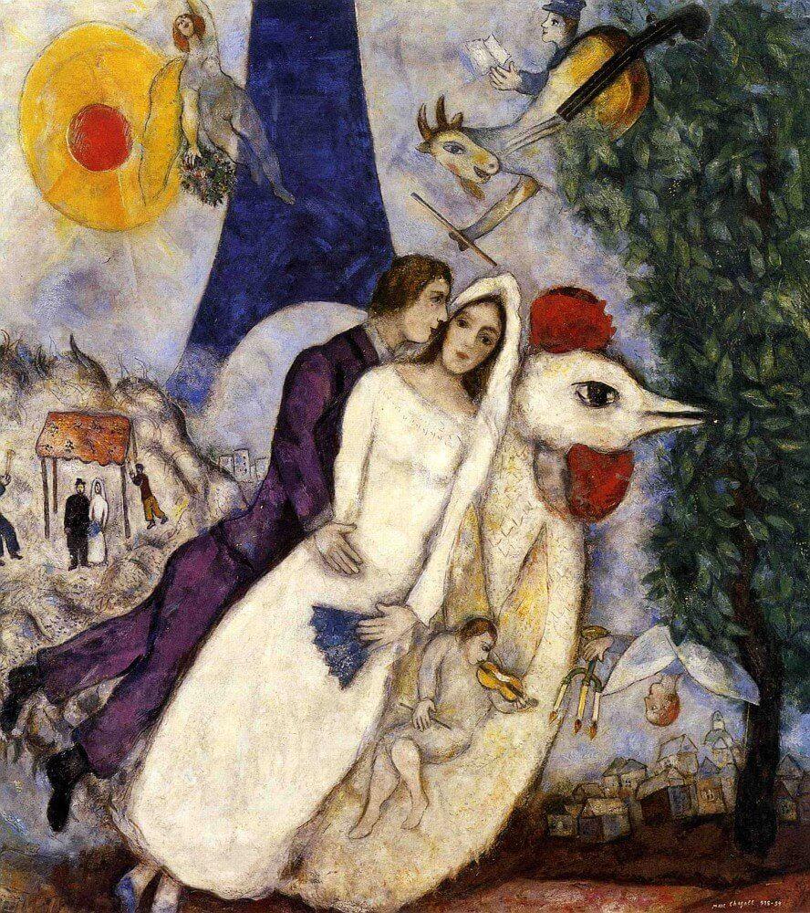Marc Chagall: A jegyesek és az Eiffel torony