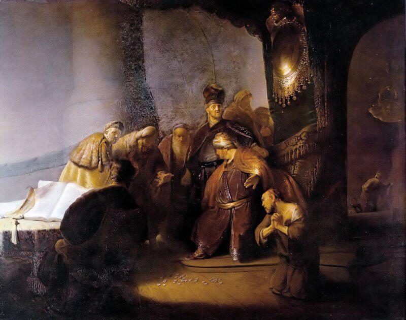 Rembrandt: Júdás visszaadja a harminc ezüstöt