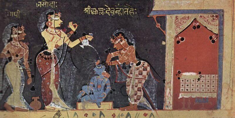 2Jashoda a gyermek Krisnát fürdeti, wikipedia.org
