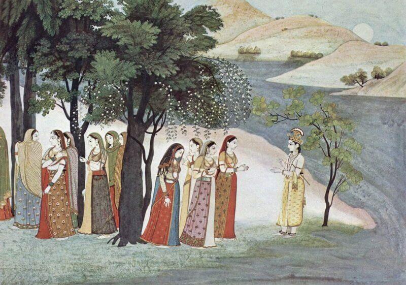 Krisna és a gopik (a Bhagavata Purana kéziratból 1760 körül, wikipedia. org)