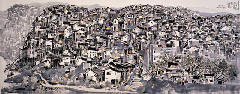 Wu Guanzhong: A régi idők Chongqing-ja, wikiart.com