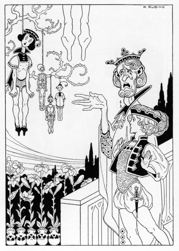 Antonio Rubino illusztrációja H. C. Andersen olasz kiadású novelláskötetéhez (1910), 50watts.com
