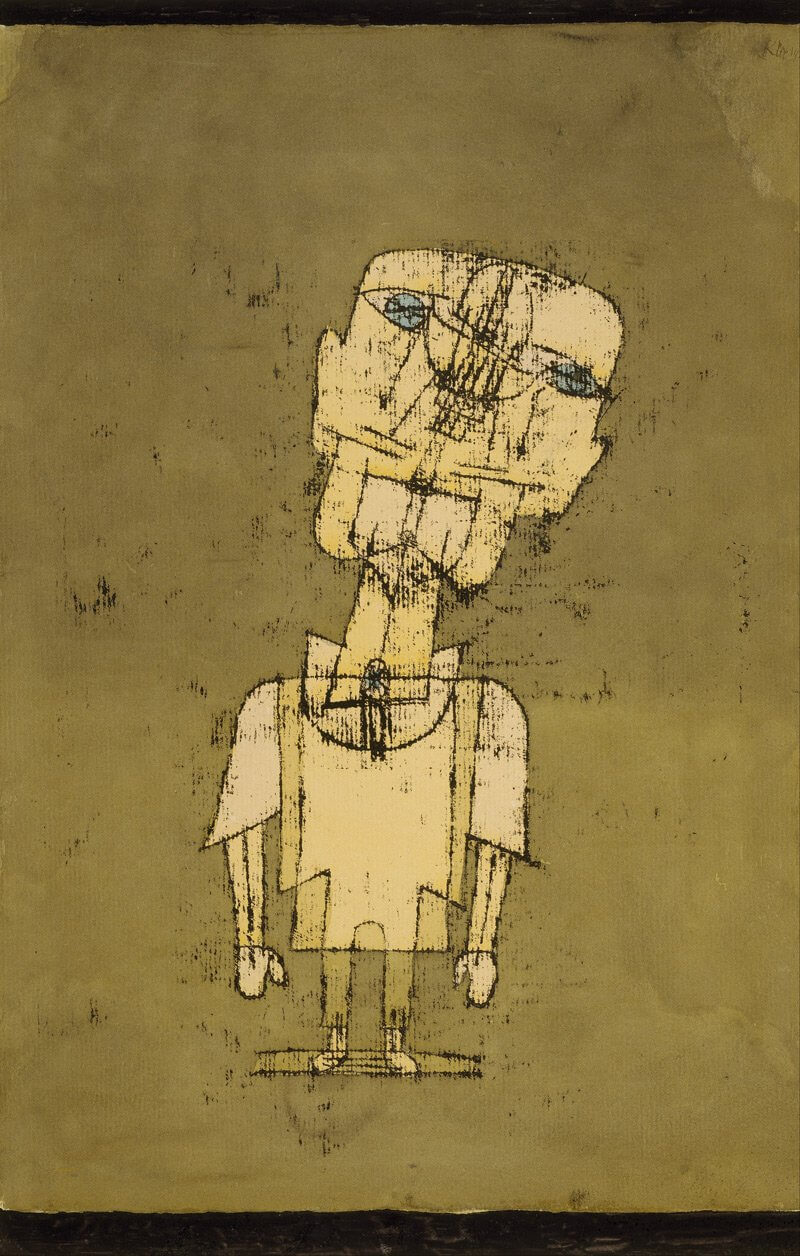 """The Angler. 1921. Watercolor, transfer drawing and ink on paper, 18 7/8 x 12 3/8"""". John S. Newberry Collection."""