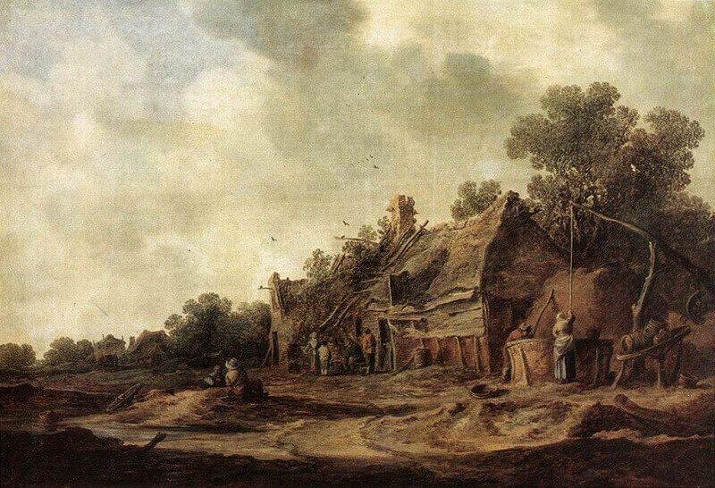 Jan van Goyen: Parasztkunyhók áradó forrásnál