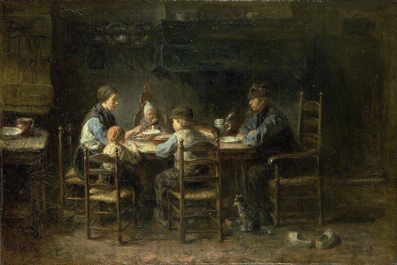Jozef Israëls: Parasztcsalád az asztal körül