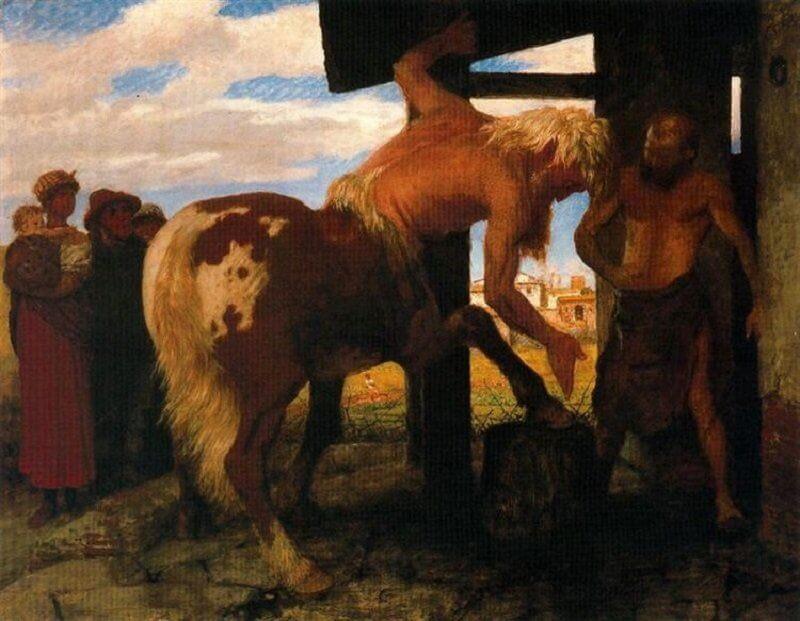 Arnold Böcklin: Kentaur a falusi patkolókovácsnál, wikiart.org