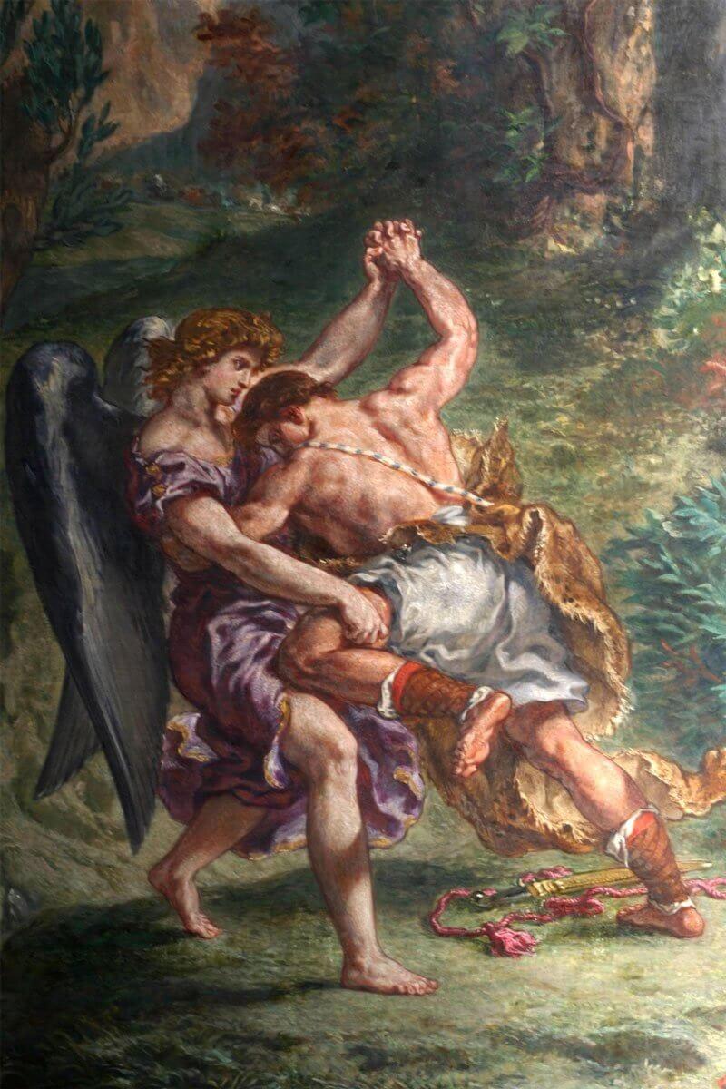 Delacroix: Jákob harca az angyallal (részlet)