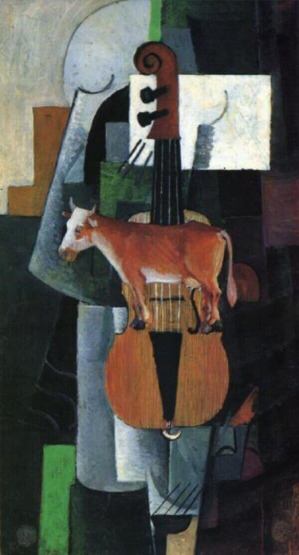 Kazimir Malevics: Tehén és hegedű, wikimedia commons