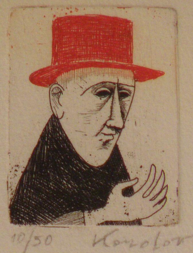 Kondor Béla: Férfiportré vörös kalapban