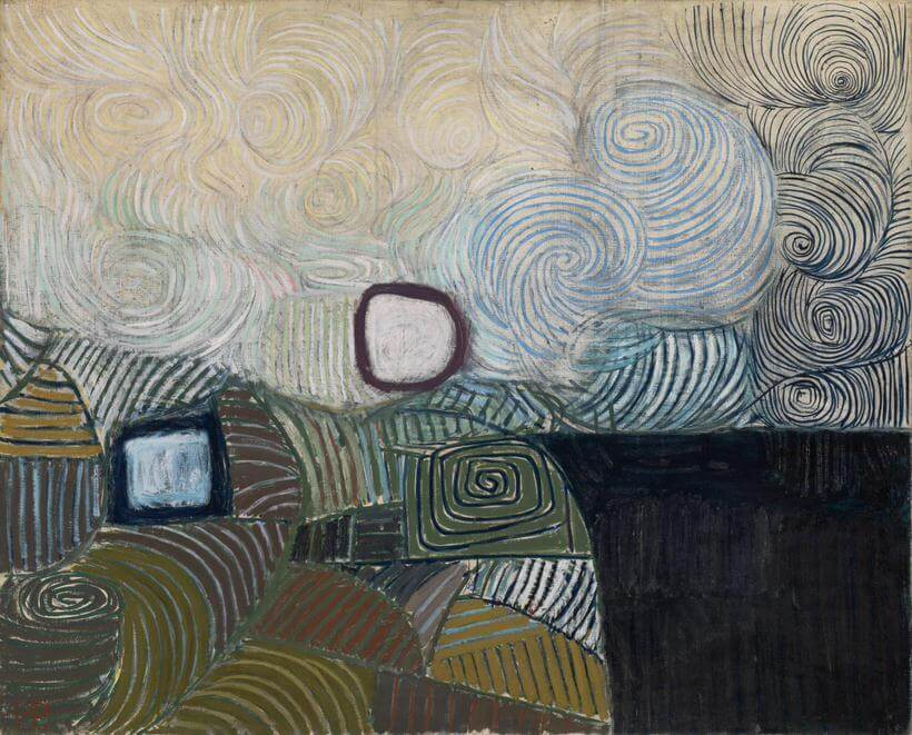 Spiral Motif in Green, Violet, Blue and Gold: The Coast of the Inland Sea 1950 Victor Pasmore 1908-1998 Purchased 1953 http://www.tate.org.uk/art/work/N06191