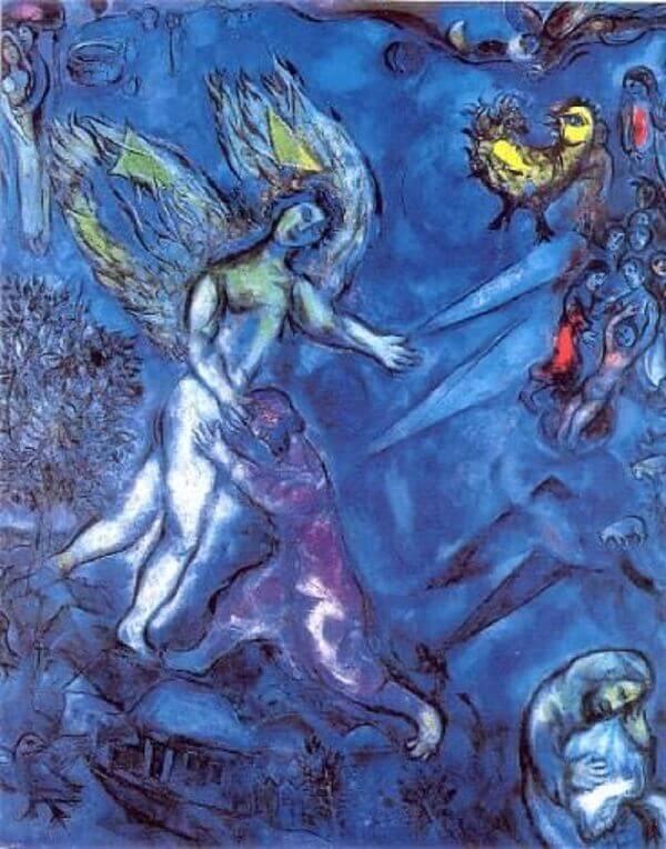 Marc Chagall: Jákob és az angyal, pinterest.com