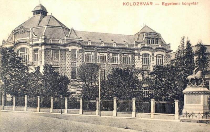 Az Egyetemi könyvtár épülete régi képeslapon, hereditatum.ro