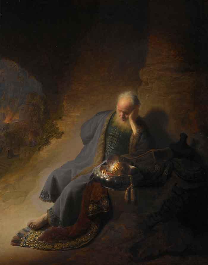 Rembrandt: Jeremiás siratja Jeruzsálem rombolását