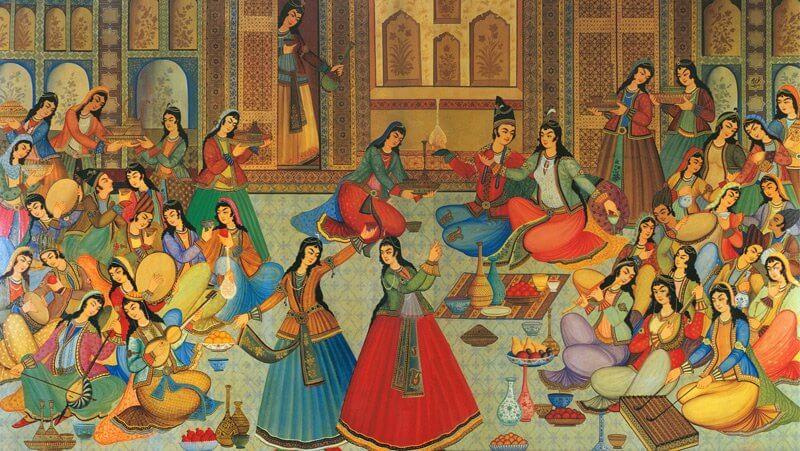 Festmény a Hasht Behesht palotából, Isfahan, Irán, 1669