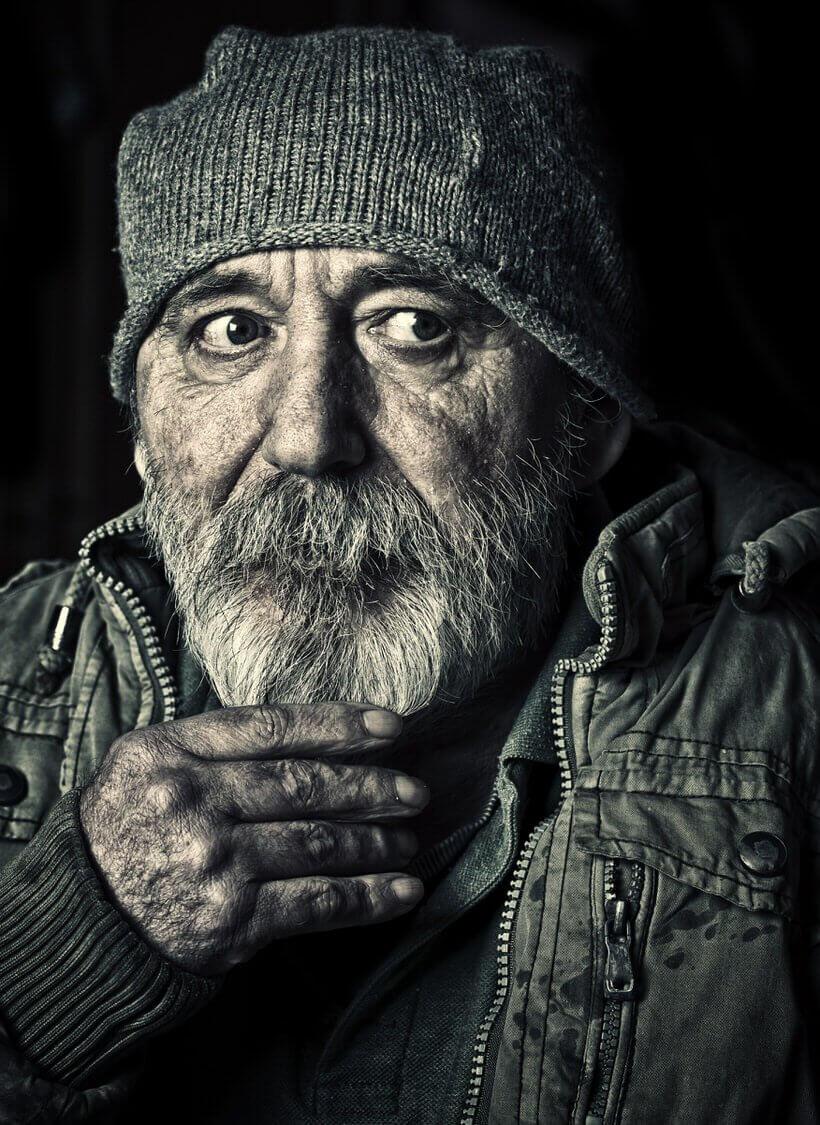 Very old homeless senior man portrait