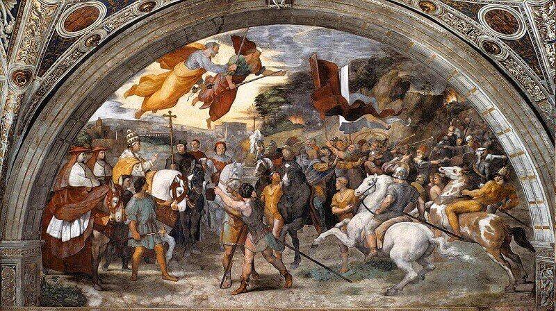 Raffaello Sanzio: Nagy Leó pápa találkozása Attilával Róma falai előtt, wikipedia.org