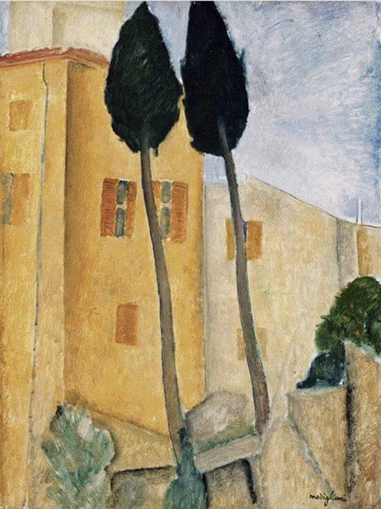 Amedeo Modigliani:  Ciprusfák és ház, wikiart.org