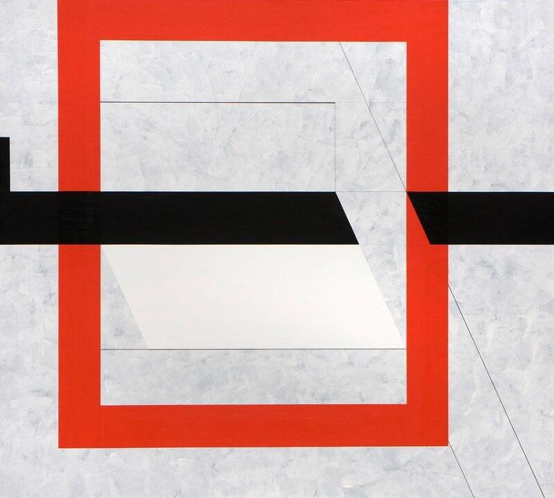 2008_35 Áttört vörös négyzet - 180x200cm - Akril,vászon